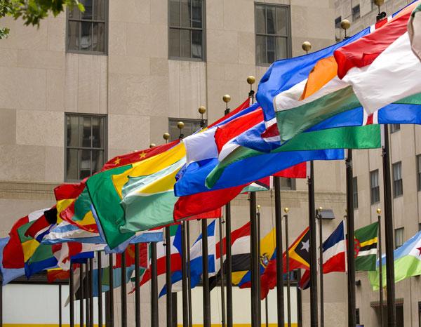 World Tourism Organization flags flying